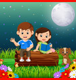 kids reading books at night in the park vector image vector image