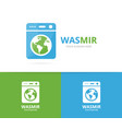 laundry and world logo combination vector image vector image