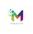 letter m design with rainbow shattered blocks vector image vector image