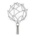 line art black and white chinese lotus lantern vector image vector image