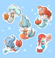 little cute mermaids stickers collection vector image