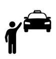 man stopping waving hand at taxi cab car black vector image