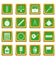 measure precision icons set green vector image vector image