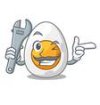 mechanic freshly boiled egg isolated on mascot vector image vector image