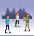 men walking with bag shop skateboard city vector image vector image