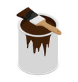 metal paint can with brown paint and paintbrush vector image vector image