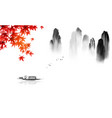 oriental landscape with fishing boat japanese red vector image vector image