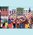 people celebrating fourth of july parade vector image vector image