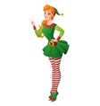 Pinup girl in Christmas elf costume finger vector image vector image