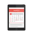 planning calendar in tablet vector image vector image