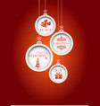 red christmas background with hanging baubles vector image vector image