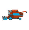red combine harvester flat style icon isolated on vector image