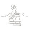 schoolgirl - one line design style vector image vector image
