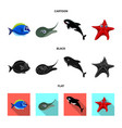 sea and animal icon set of vector image vector image