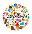 set of colorful ice cream in circle vector image