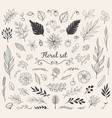 set of nature doodles vector image