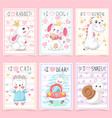 set teddy animals idea for greeting card vector image