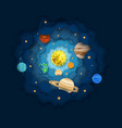 solar system layered paper cut style vector image