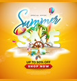 summer sale design with sunglasses and exotic palm vector image vector image