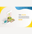 taxi online landing page website template vector image