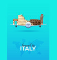 travel to italy airplane with attractions travel vector image vector image