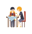 Two Guests Having Lunch At Restaurant Hotel Themed vector image vector image
