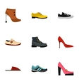 Types of shoes icons set flat style vector image vector image