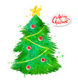 watercolor of christmas tree vector image vector image