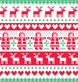 Winter Christmas red and green seamless pattern vector image vector image