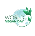 World vegan day emblem vector image vector image