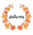 Wreath autumn plants with inscription