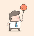 young man holding red balloon vector image vector image