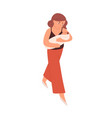 young mother walking and holding newborn baby vector image