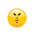 angry emoji isolated aggressive yellow circle vector image