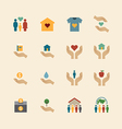 charity and donation silhouette colour icons vector image