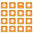 emoticon icons set orange vector image