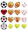 sport balls and hearts set vector image