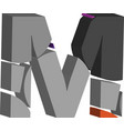 3d font letter m vector image vector image