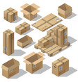 3d isometric set cardboard packaging vector image