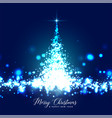 beautiful glowing christmas tree sparkles vector image