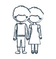 blurred blue contour faceless curly couple girl vector image vector image