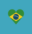 brazil flag icon in a heart shape in flat design vector image vector image