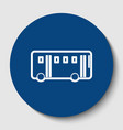 bus simple sign white contour icon in vector image vector image