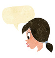 cartoon pretty female face with speech bubble vector image vector image