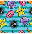 Cartoon seamless pattern with marine life vector image vector image