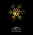 christmas and new year gold glitter snowflake card vector image vector image