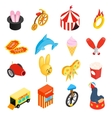Circus isometric 3d icons set vector image