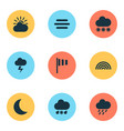 climate icons set collection of snowy sun-cloud vector image vector image
