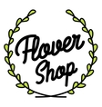 Color vintage flower shop emblem vector image