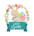 cute bunny carrying basket eggs wreath floral vector image